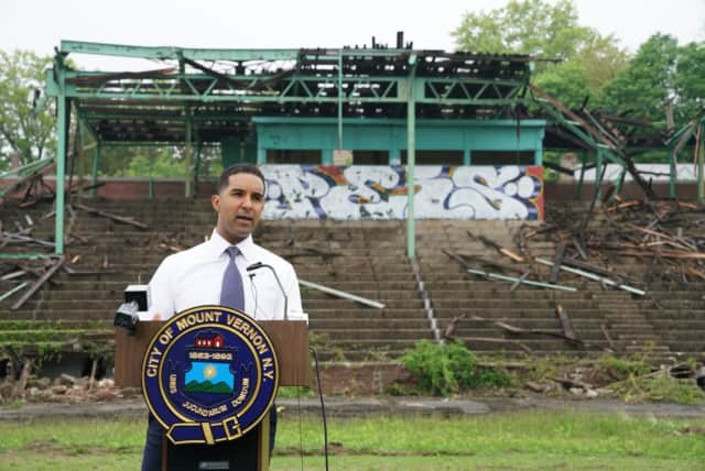 Mount Vernon Mayor Richard Thomas announcing the beginning of demolition of the grandstands at Memorial Field earlier this year.