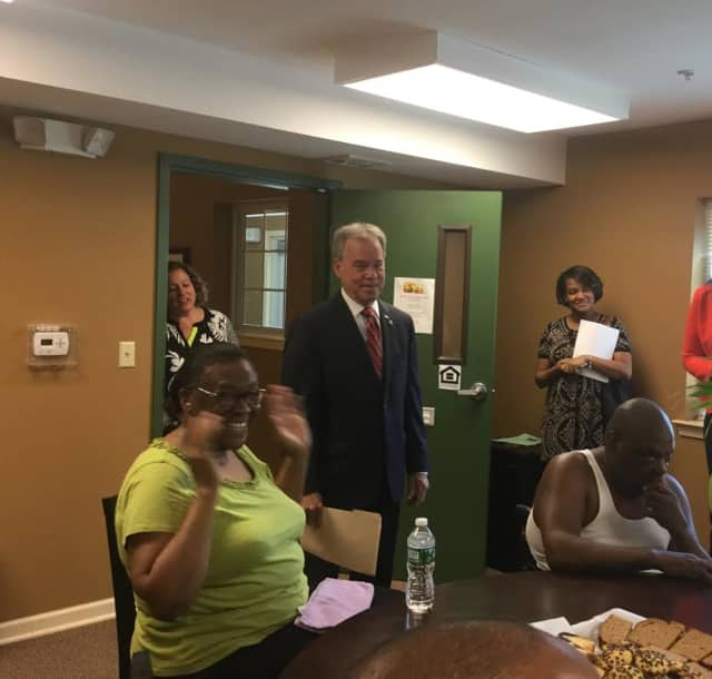 Rockland County Executive Ed Day meets with tenants and staff at Hyenga Lake.