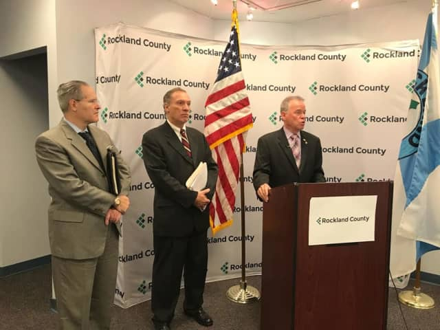 Budget Director Steve Grogan, Finance Commissioner Stephen DeGroat and Rockland County Executive Ed Day discuss the latest audit.