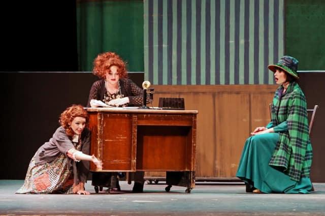 Sadie Seelert, Kaitlyn Piotroski, Grace Rucci in 'Annie Jr.' at New Canaan High School.