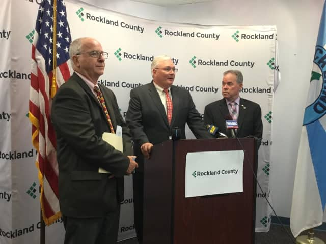 Rockland Commissioner of Mental Health Michael Leitzes, County Attorney Thomas Humbach and Rockland County Executive Ed Day announce litigation against opioid manufacturers.