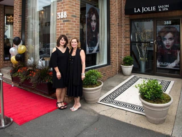Cheryl Van Voorhies, left and Toni Ann Lupinacci-McClenny, right, of La Jolie Salon, Color Bar, Spa in Stamford.