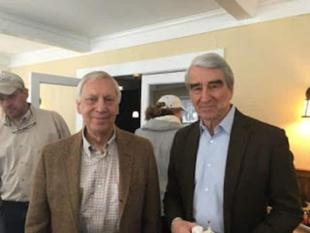 "Dr. Sigurd Ackerman, president and medical director of Silver Hill Hospital,with actor Sam Waterston, host of ""Visionaries."""