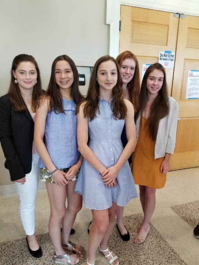 (from left) Bronxville High School sophomores – Sofia Riccarini, Sabrina Mellinghoff, Grace Sperber, Charlotte Dotson and Emily Perry – won first place in the group exhibit category at the national finals of the 2018 National History Day Contest.