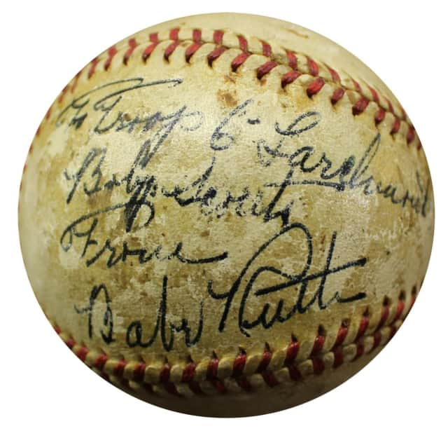 A baseball signed by Babe Ruth is being auctioned to benefit the Westchester-Putnam Boy Scouts.