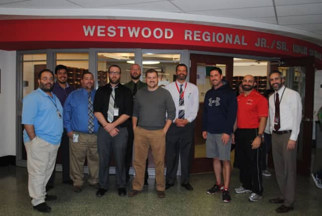 From left Emilio Prisco, Dan Pena, Keith DeBlasio, James Thomas, Tom Jarusiewicz, James Lawrence, Jr./Sr. High School Principal Frank Connelly, Rob Glander, Mike Attanasio, and Charles Collis.