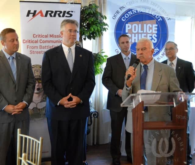 State Rep. John Shaban,, center, is honored by the Police Chiefs Association.