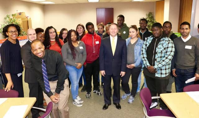 County Executive Rob Astorino with the first training class of the newly expanded 'Jobs Waiting' program, now serving more job seekers and more industries, at the launch on May 1.
