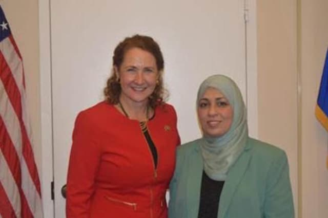 U.S. Rep. Elizabeth Esty, D-5th District, and Eman Beshtawii of Newtown at the National Prayer Breakfast in Washington, D.C.