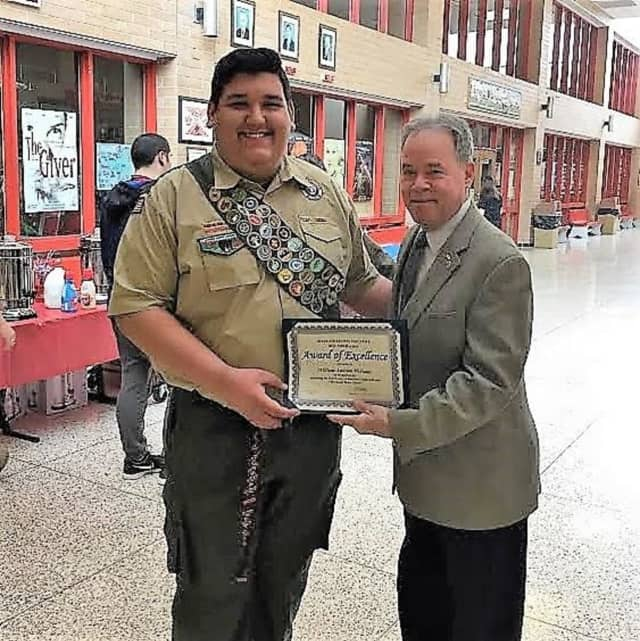 North Rockland High School graduate William McIsaac is congratulated by Rockland County Executive Ed Day on becoming an Eagle Scout.