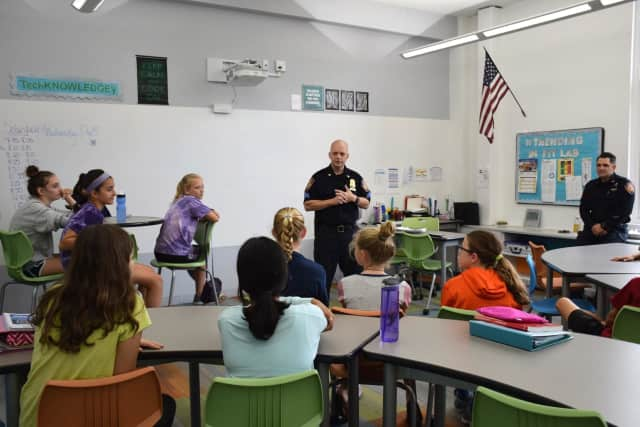 Bronxville Middle School students welcomed Bronxville Police Department Sergeant William Carroll and Officer Michael Lewis to their school to discuss the importance of keeping their digital lives safe.