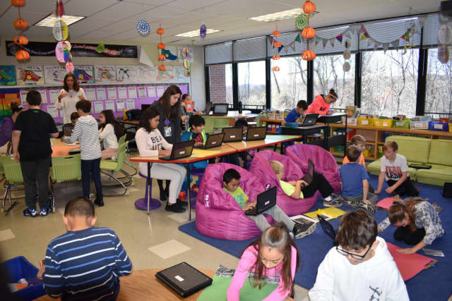 A flexible seating classroom at Crompond Elementary School in Yorktown Heights.