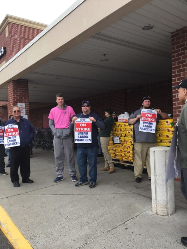 Stop & Shop workers picket during strike.