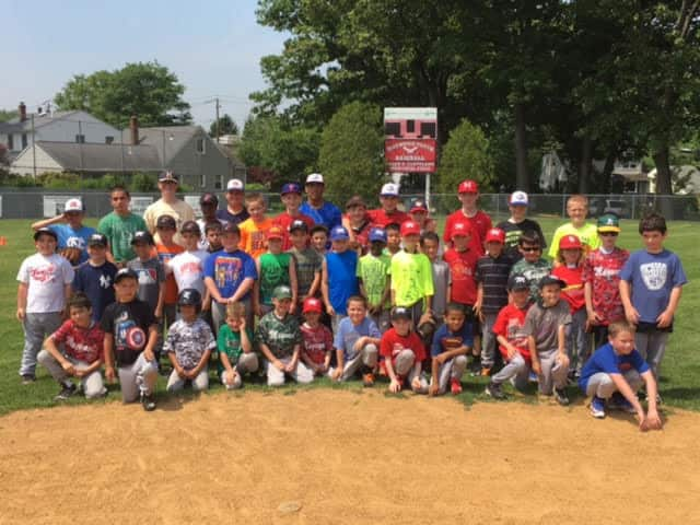 Maywood kids take part in baseball clinic.