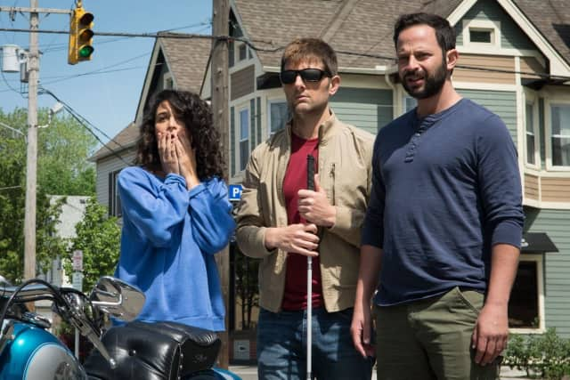 """A scene from """"My Blind Brother,"""" starring Rye native Nick Kroll, far right."""