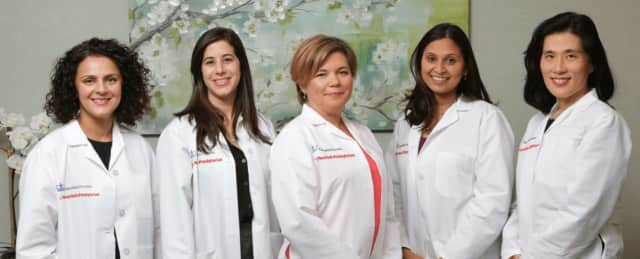 ColumbiaDoctors Obstetrics & Gynecology at Scarsdale physicians, from left, Dhruti Mehta, MD, Reut Moyal, MD, Anna Burgansky, MD,  Nitasha Jain, MD and Pearl J. Lim, MD.