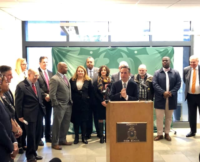 Senate Majority Leader Bob Duff among city and school officials announced plans for the new high school on Dec. 9. Photo credit: Courtesy of Norwalk Public Schools