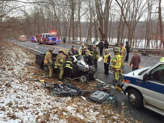Three people were injured during a serious head-on crash on Route 22 in Brewster that closed the highway for more than five hours.