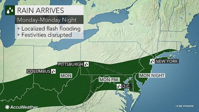 Rain could result in localized flash flooding in some spots, according to AccuWeather.com.