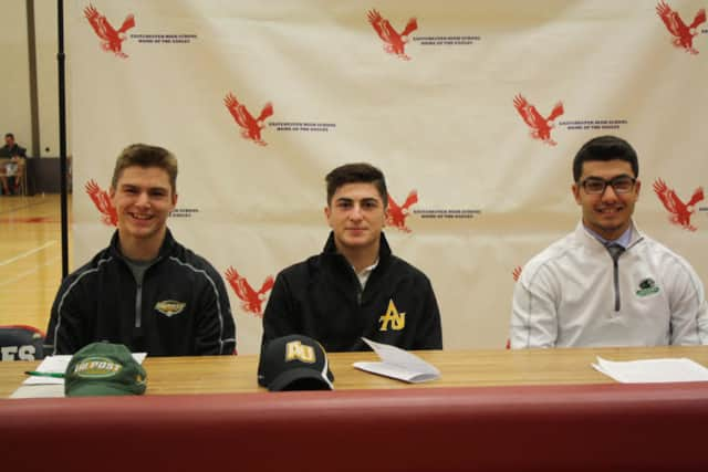 Eastchester High School athletes John Blume, who is heading to LIU Post (DII) to play on its lacrosse team; John Arcidiacono, who will play lacrosse for Adelphi University (DII) and Greg Satriale who will play baseball for Binghamton University (DI).