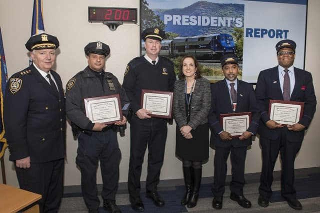 Acting MTA Police Chief Joseph McGrann, Officer John Casiano, Lt. Henry Lennon, President Catherine Rinaldi, Conductor Ninan Jacob, Asst. Conductor Rod Milhouse.
