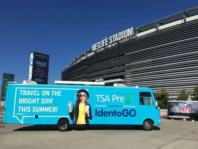 An IdentoGo enrollment RV will be parked between lots E and F at MetLife Stadium Sunday.