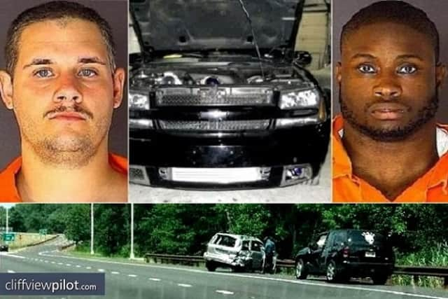 John C. Emili, right, a former Clarkstown North High School athlete, was sentenced to prison for his role in a road rage incident that killed a New Jersey woman. The other driver, Thomas Vanderweit, top left, is serving a six-year sentence.