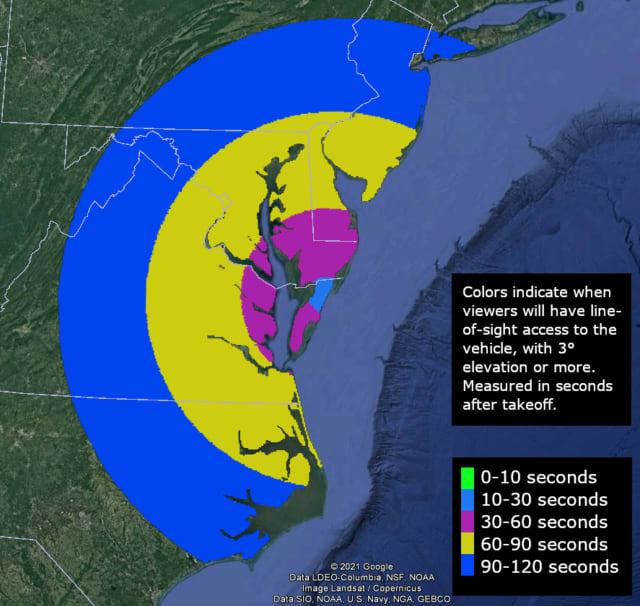 An upcoming rocket launch from NASA's Wallops Flight Facility may be visible across the region.