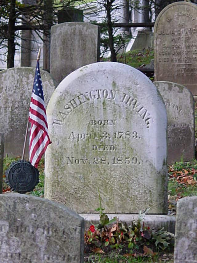 A medallion was stolen from Washington Irving's grave at the historic Sleepy Hollow Cemetery.