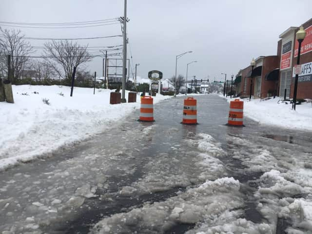 Water Street in Norwalk was closed around noon on Thursday during the storm because of flooding.