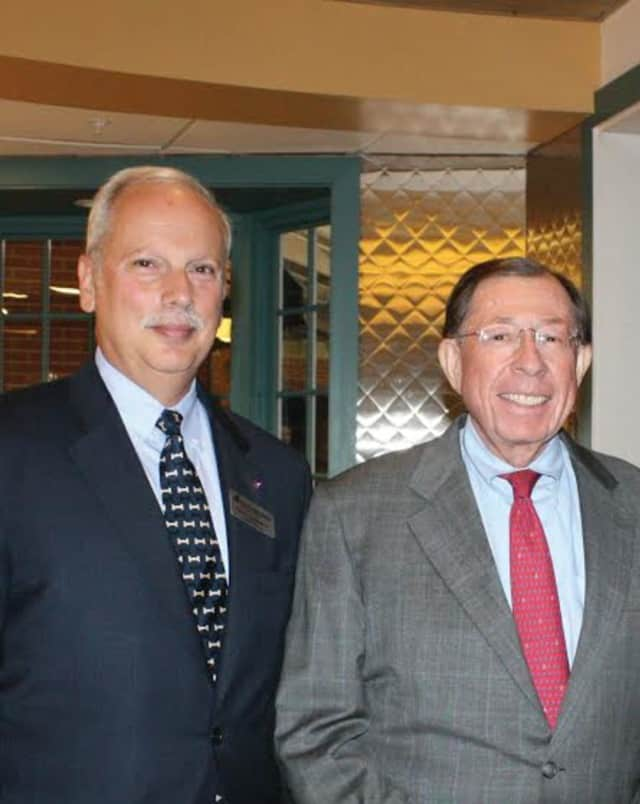 Honorees Harry T. Rein, left, and Reyno Giallongo, Jr., Chairman of the Board and CEO of First County Bank & President of First County Bank Foundation, attended a donor recognition reception for Waveny LifeCare Network.
