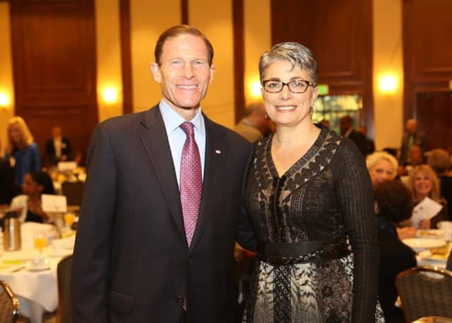 U.S. Senator Richard Blumenthal and Fran Pastore, president/CEO of WBDC, at the 14th Annual WBDC Breakfast.
