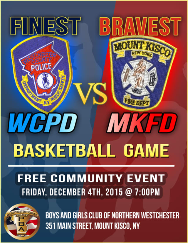 Mount Kisco firefighters and Westchester County police will play against each other in a basketball game at the Boys and Girls Club of Northern Westchester.
