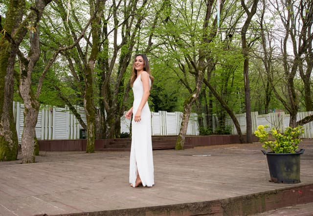 Ikbal Bozkaya Bieff in a wedding dress created by her father-in-law, Neil Bieff.