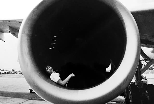 Wendy Sue Knecht poses in the turbofan engine of one of Pan Am's planes. Photographs courtesy Wendy Sue Knecht.