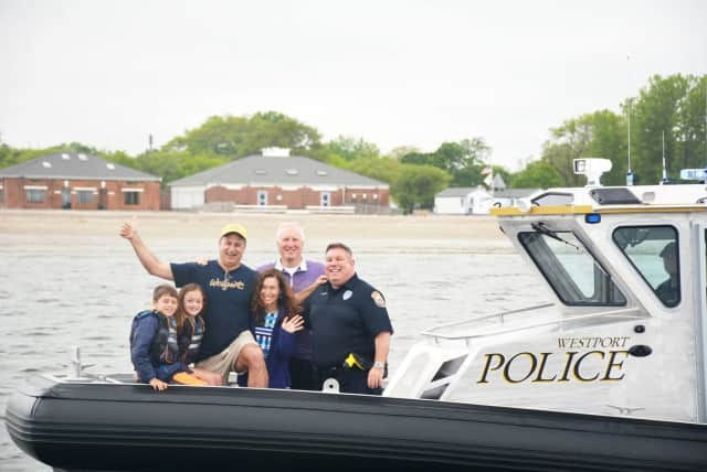 Pictured aboard Marine 1 off the coast of Compo Beach from left to right Nate Bernstein; Esther Bernstein; Doug Bernstein; Melissa Bernstein; Howie Friedman, PAL Trustee; Ned Batlin, PAL President.
