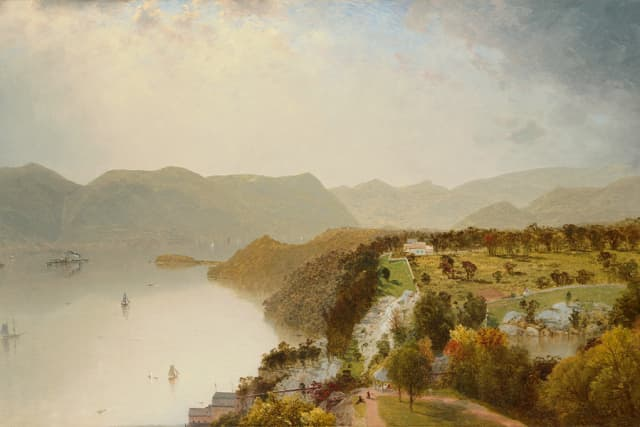 "John Frederick Kensett (1816–1872). ""View from Cozzens' Hotel, near West Point, N.Y.,"" 1863. Oil on canvas. Robert L. Stuart Collection, the gift of his widow Mrs. Mary Stuart, S-189. Courtesy New-York Historical Society Museum & Library."