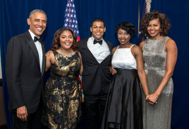Spring Valley's Jourdan Henry, middle, was honored with two other Howard University students at the White House Correspondents' Dinner in 2015 for winning the Harry S. McAlpin, Jr. Scholarship.