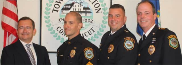 Two members of the Wilton Police Department celebrated their promotions during a ceremony on Monday.