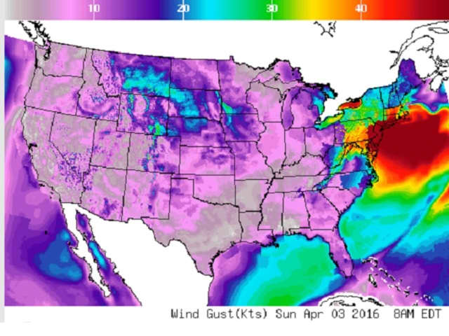 National Weather Service map shows severe Sunday morning winds in New Jersey.