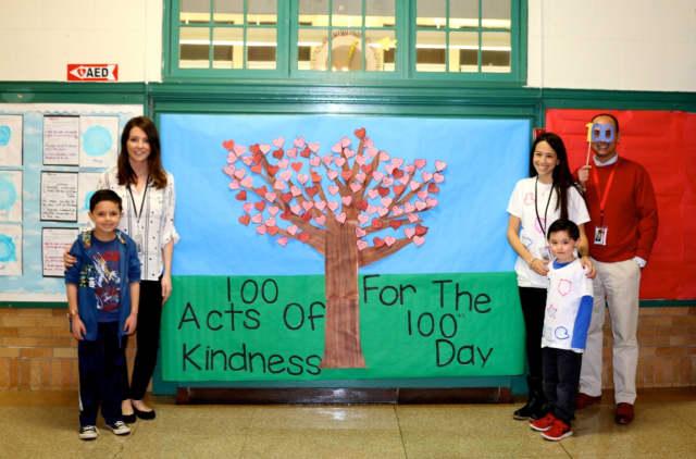 Pictured, from left to right, are Aiden Guglielmotti, Stephanie Lepore, Allison Seigle, Samuel Ko, and Principal Michael Fiorello.