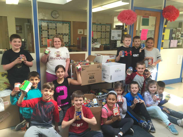 Violet Waskielewicz's third grade class at Westwood Regional School District's Jessie F. George School brought in 64 cans for the local food pantry.