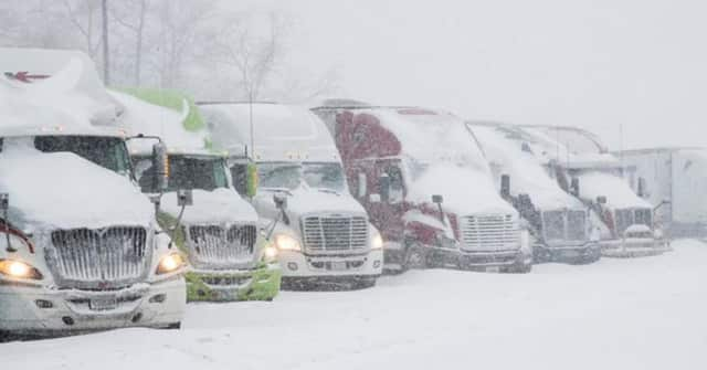 A travel ban is in place for all commercial-type vehicles.