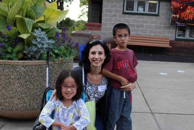 Christine Yang and her kids at the recent 'A Wild Family Event' at Beardsley Zoo. The event benefited the Tiny Miracles Foundation, where Yang serves as a board member.