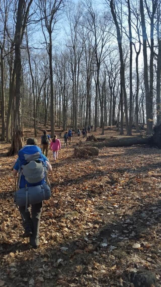 A troop of boy scouts leads some lost hikers back to their camp and out of the woods on Saturday in Harriman State Park in Sloatsburg.