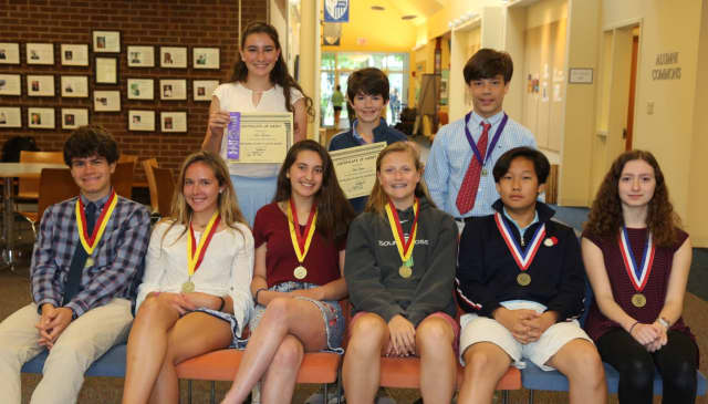 New Canaan Country School students who earned national acclaim: (front row from left): Shane Carbin, Hannah Nightingale, Georgia Rivero, Ellie Hanson, Seth Yoo and Alexandra Mathews. (Back row from left): Sofie Petricone, Mac Ryan and Cody Comyns.