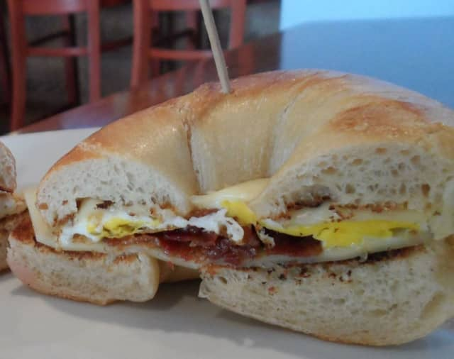 Yianni's Cafe in Brigantine is known for its savory bagel sandwiches like the 'Meat Lovers' (egg, bacon, pork roll, sausage patty and cheese) and the 'Shore Favorite' (egg, avocado, bacon and cheese).