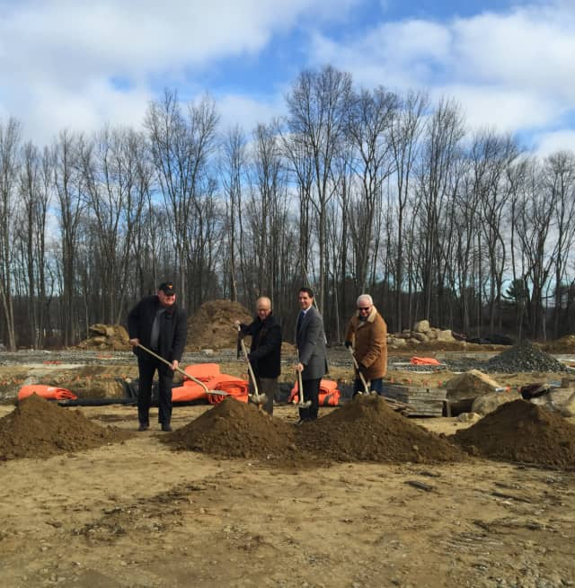 Charles Mallory, Greenwich Hospitality, Danbury Mayor Mark D. Boughton, Randy Salvatore, RMS Companies and Ramze Zakka, Z Hospitality break ground Jan. 11 on Hotel Zero Degrees in Danbury.