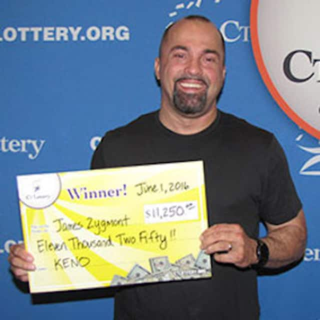 James Zygmont of Trumbull claims $11,250 Keno prize at Connecticut Lottery headquarters.