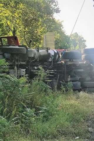 Asphalt Truck Rolls Near Jersey Exit Off NY State Thruway